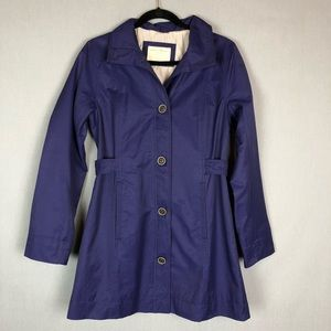 Eddie Bauer blue trench coat w/ pockets size small
